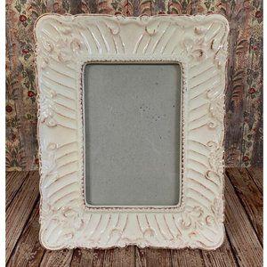 4x6 Picture Frame White Ceramic Shabby Chic Boho